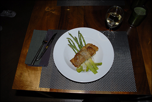 Cod Fish wrapped in Potato thins; Asparagus and Endive