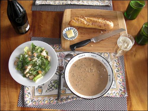 Cream of Mushroom Soup and Caesar Salad