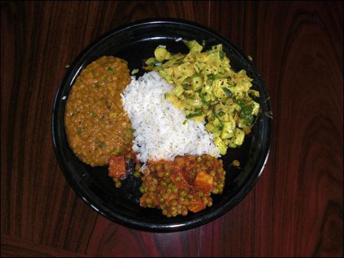 Indian delight:  Dal; Matar Paneer; Muttakos Kari