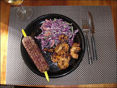 Grilled Shrimp, Cabbage Salad, Blue roasted corn