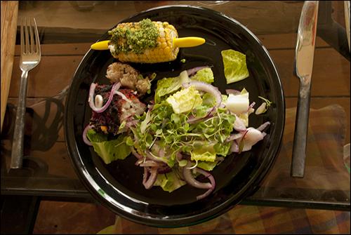 Monk Fish, Garden Salad, Corn