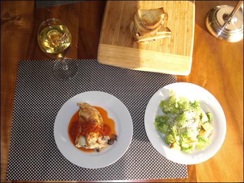 Mushroom Lasgna and Caesar Salad