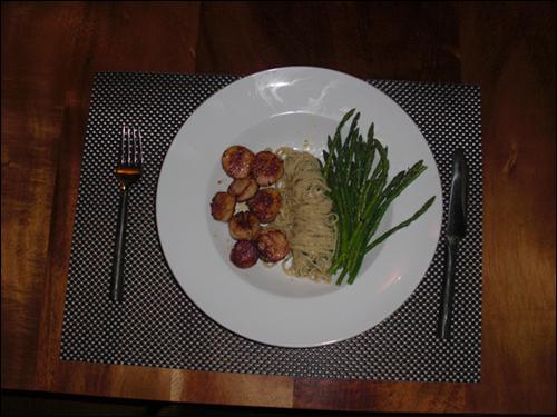 Scallops, Pasta, and Asparagus